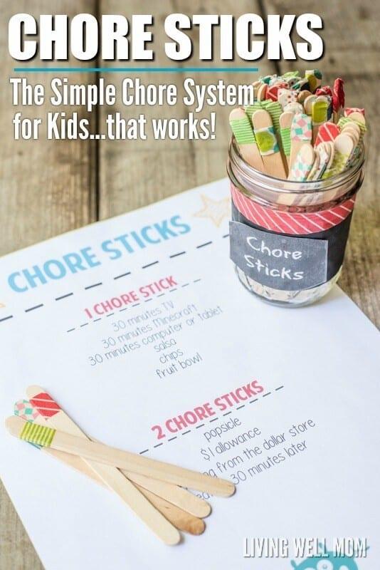 DIY chore chart stick system