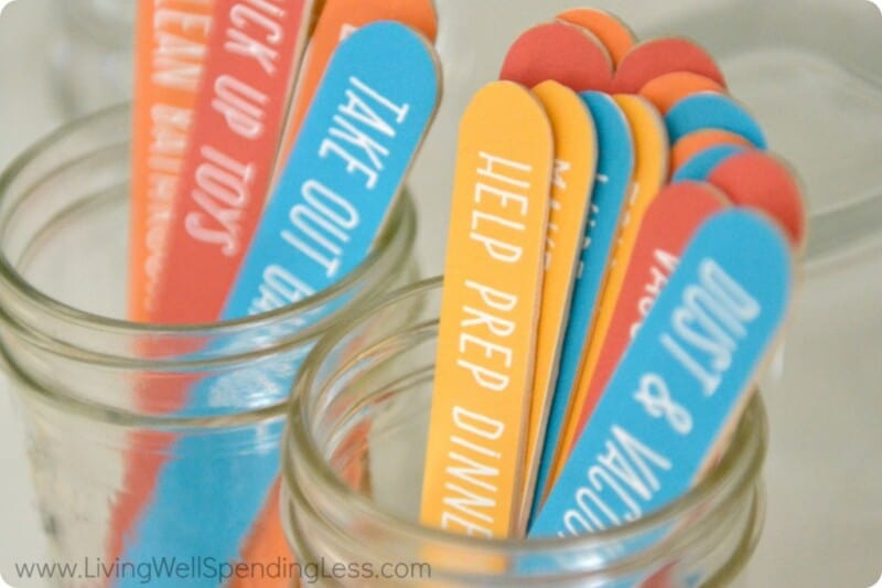 DIY chore chart popsicle sticks in a jar