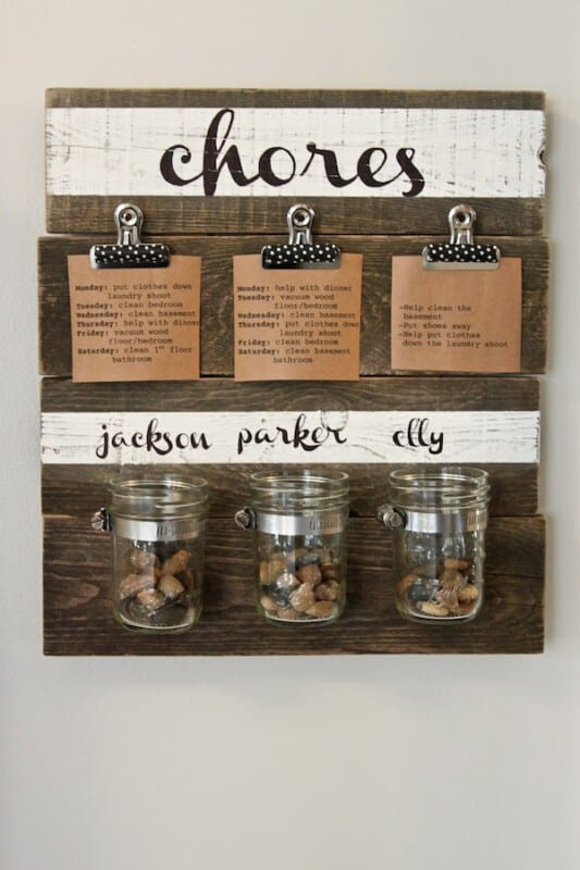 DIY chore chart idea wood and stones in jars