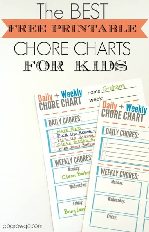daily weekly printable chore chart template