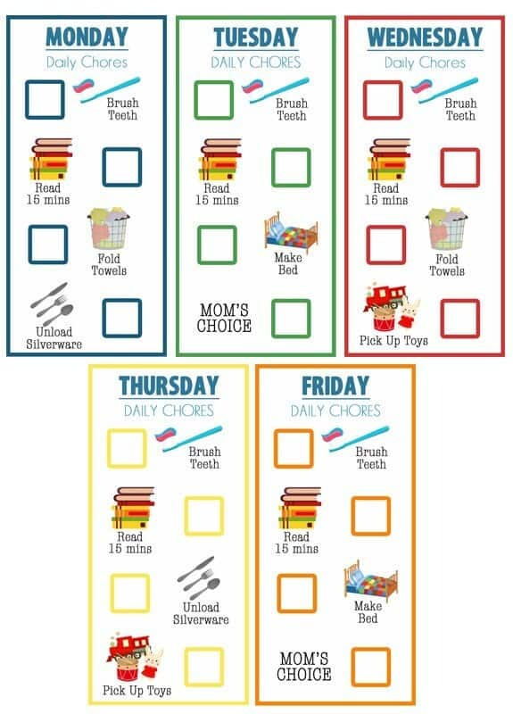 printable chore charts for young kids