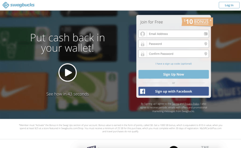screenshot of swagbucks home page