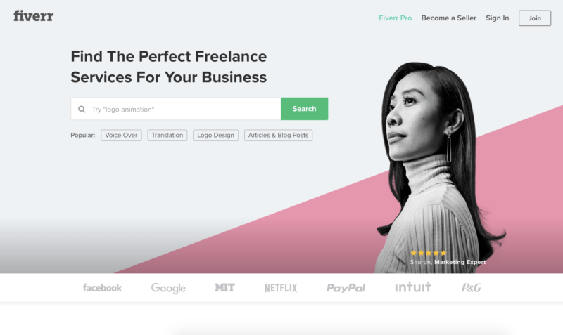 fiverr homepage screenshot