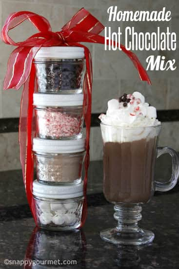 Hot chocolate mix and toppings in small jars