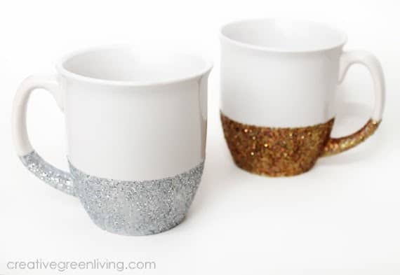 white mugs dipped in gold and silver glitter
