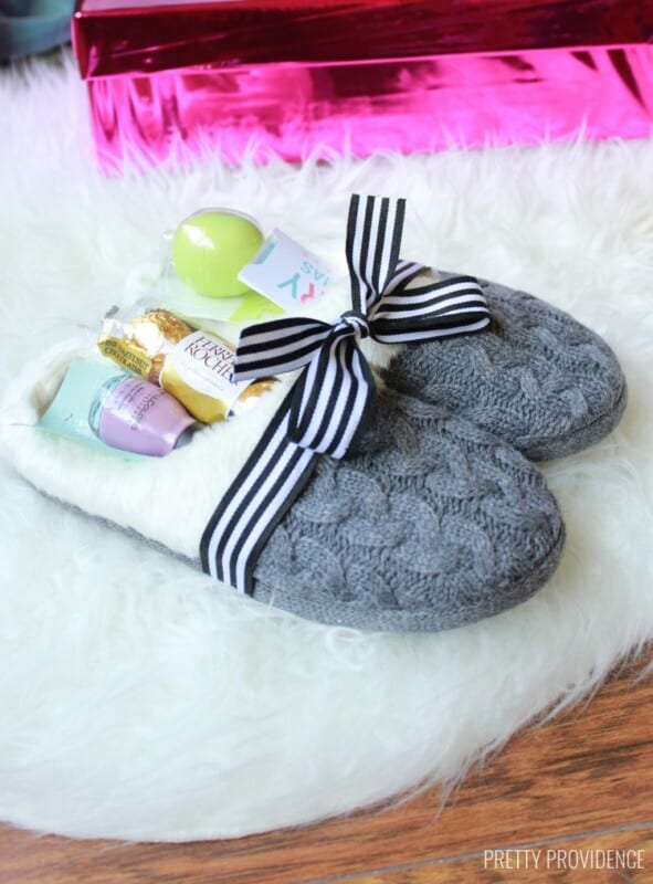 slippers stuffed with candy and nail polish
