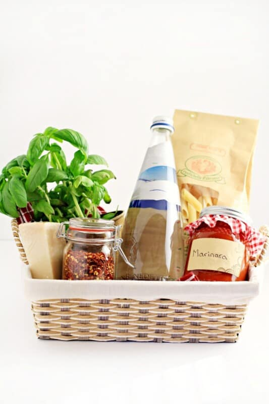 wicker basket with ingredients for spaghetti dinner cheap christmas gifts