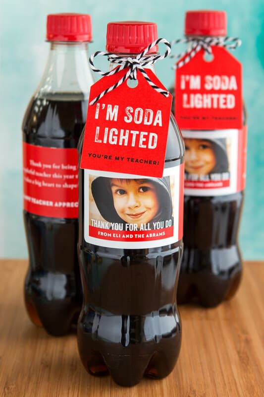 red soda with gift tag
