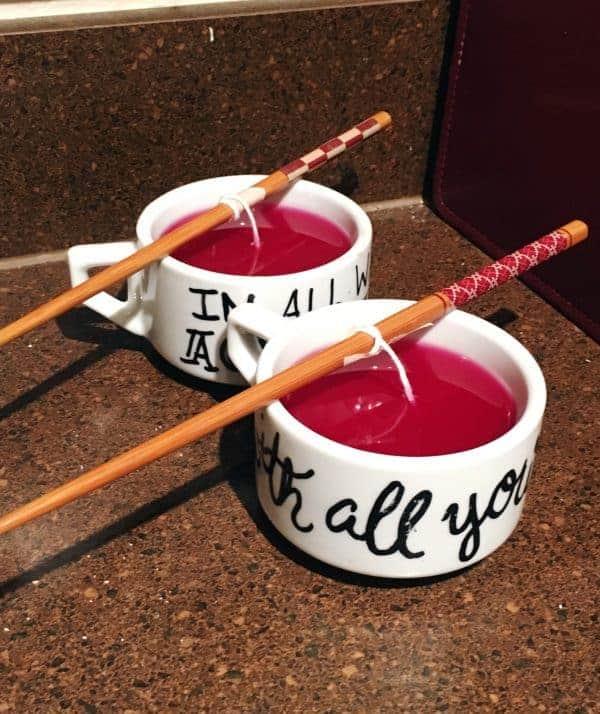 Candles in a sharpie mug