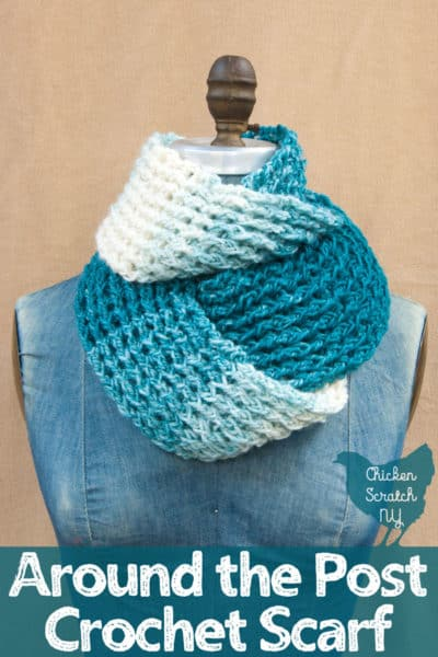 blue and white around the post crochet scarf