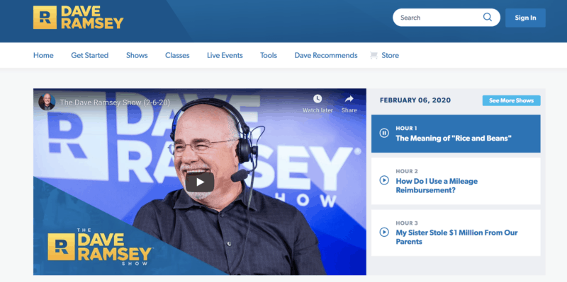 Dave Ramsey radio show archive page