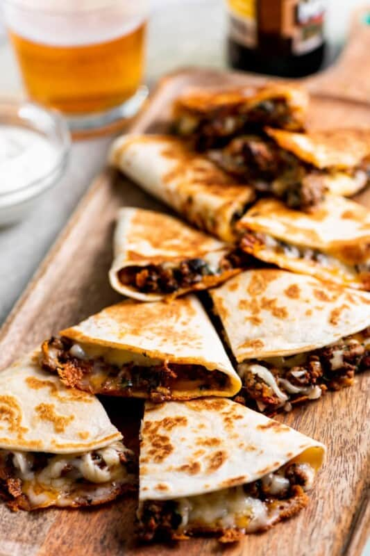 cheesy ground beef quesadillas recipe