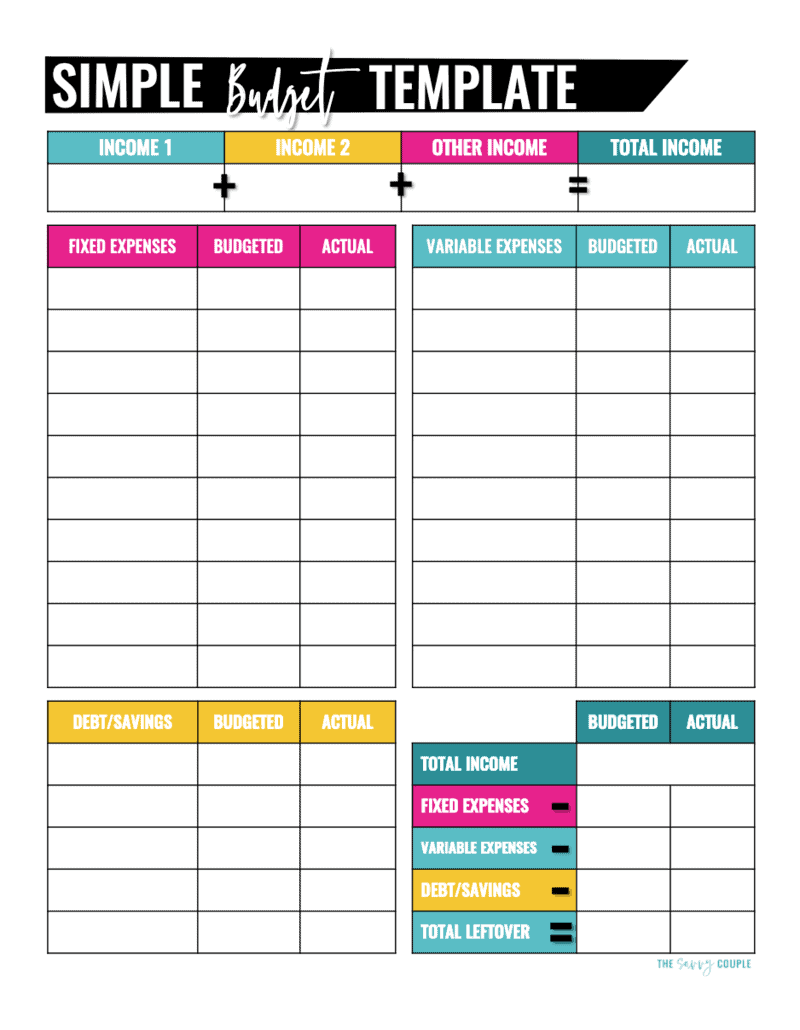 Blue and pink printable monthly budget template
