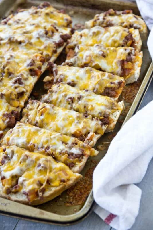 sloppy joe french bread pizza ground beef recipe