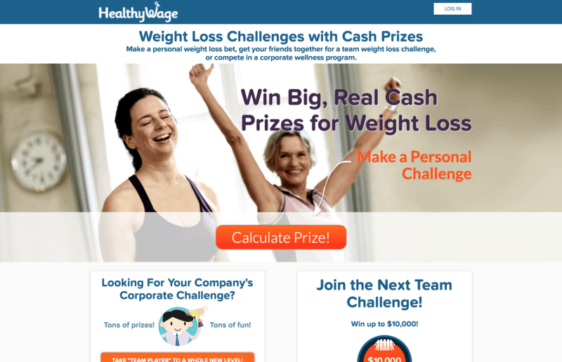healthywage homepage app to get paid to lose weight