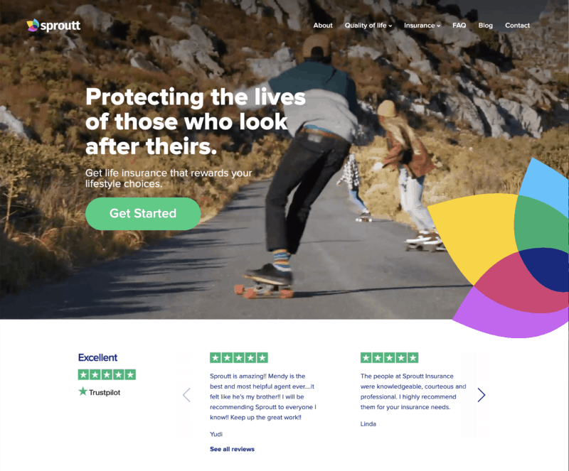 sproutt review nice clean and bright homepage