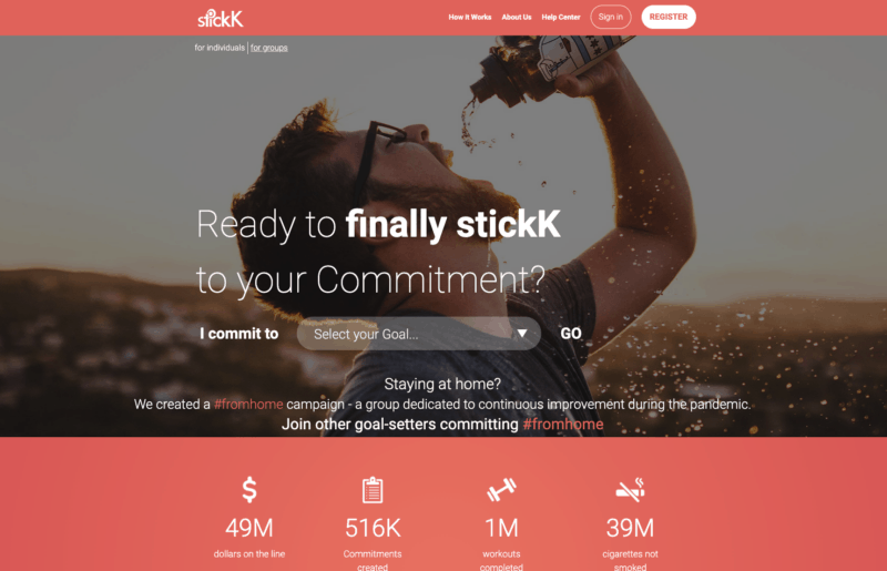 stickk homepage online community to get paid to lose weight