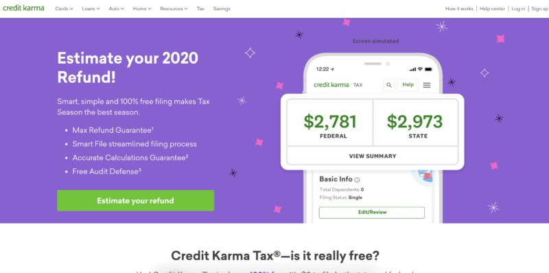 Credit Karma Tax homepage screenshot