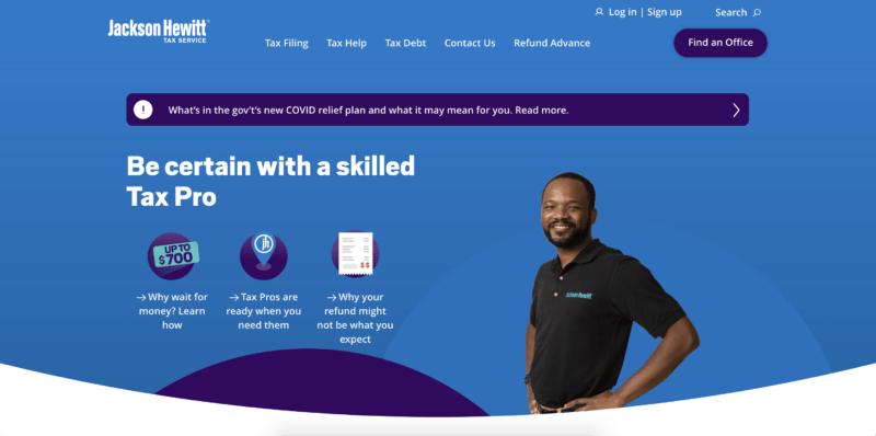 Jackson Hewitt homepage screenshot