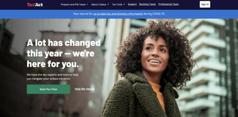 TaxAct homepage screenshot