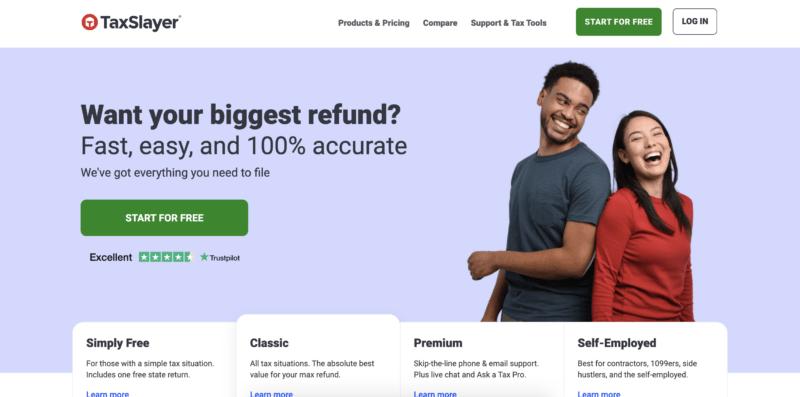 TaxSlayer homepage screenshot