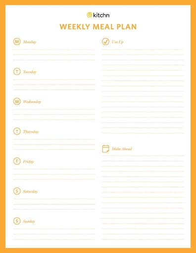 meal planning template kitchn