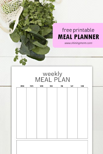 meal planning template shining mom