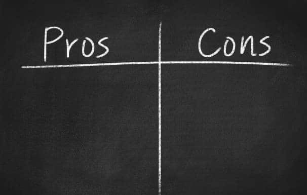 pros and cons concept on a chalkboard background