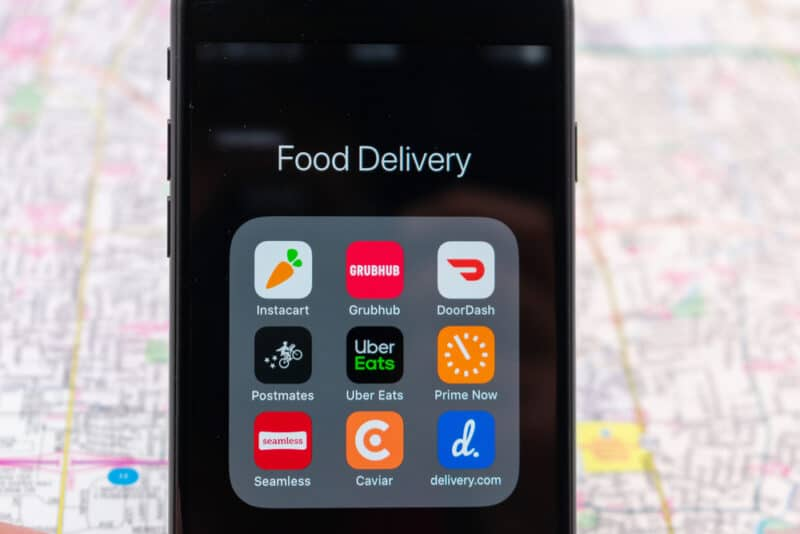 Food delivery applications on a smartphone