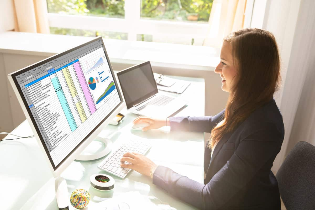 Budget Spreadsheets Professional Young Businesswoman Working On Computer In Office