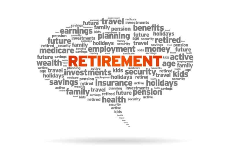 IRA vs. 401(k) Retirement word speech bubble on white background.