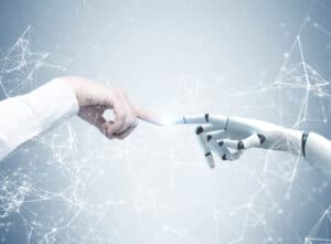 How to make money using jarvis Human and robot hands reaching out and touching with index fingers. A gray background with a network hologram. Concept of hi tech