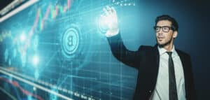coinbase alternatives A close up portrait of business man on background with charts with bitcoins.Business concept.